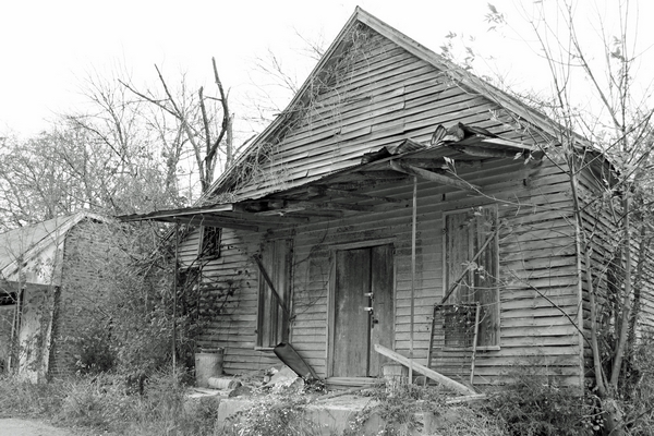 image of an old shack in black and white