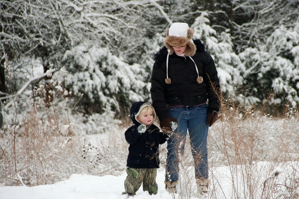 image of mother and son in the snow