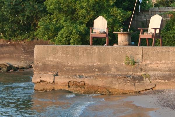 image of a block dock at the lake