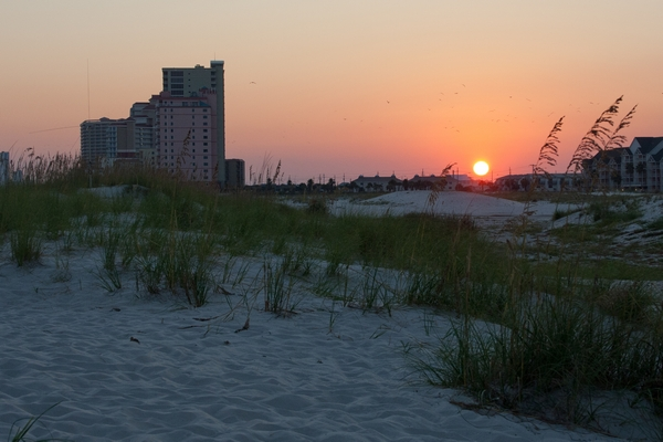 image of sunset on the beach at Gulf Shores
