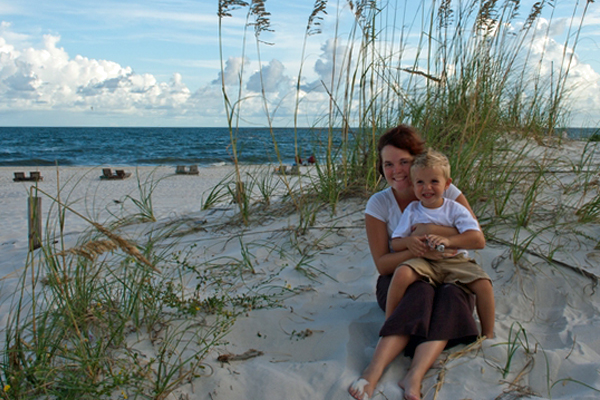 image of mother and son on the beach