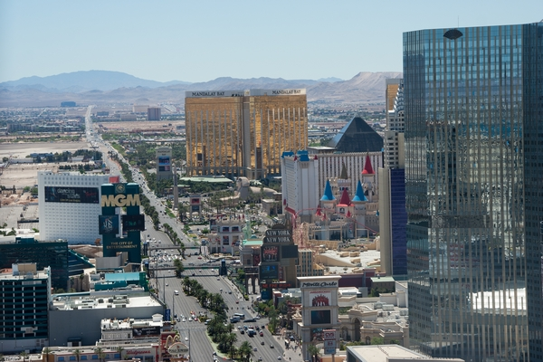 view of the Las Vegas strip in the daytime