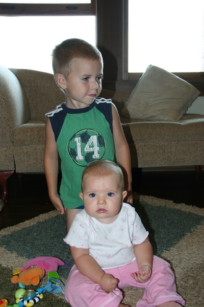 image of siblings with on camera flash