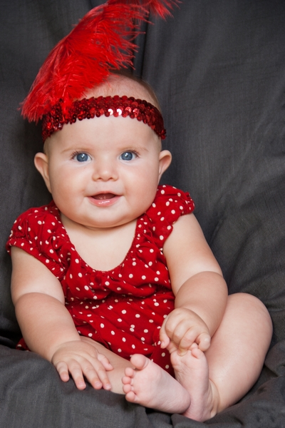 image of baby girl in red