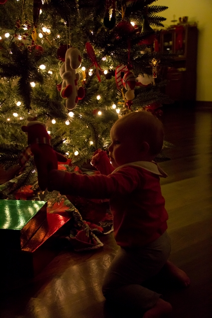 image of baby looking at christmas tree decorations
